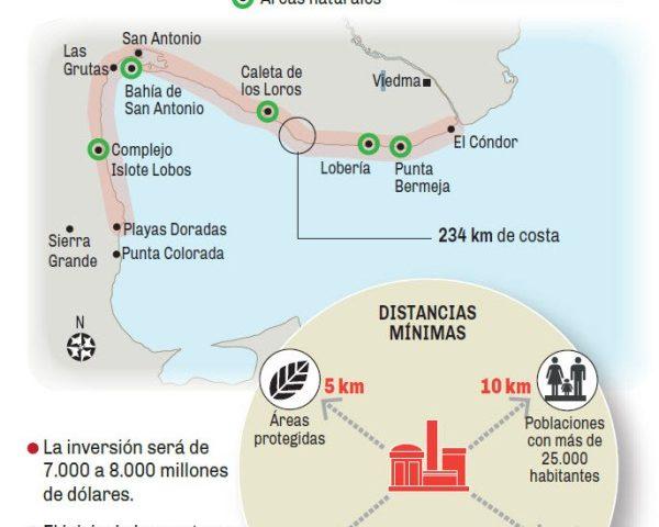 La V Central Nuclear estará ubicada sobre la costa atlántica de Rio Negro