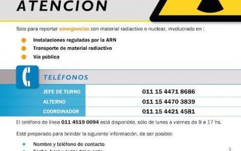 ARN actualizó los teléfonos para dar aviso en caso de una situación de emergencia radiológica