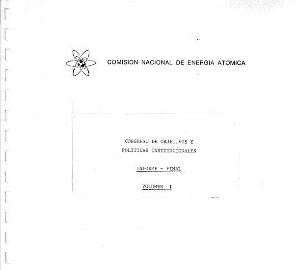 Portada del Volumen I, informe final del COPI. 1987