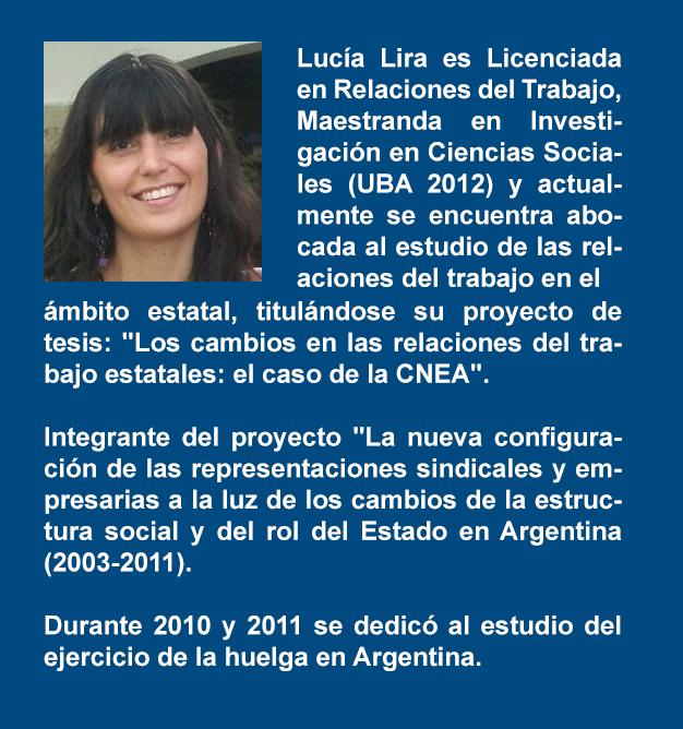 CV de Lucía Lira, licenciada en Relaciones Laborales, docente y mastranda de la UBA.