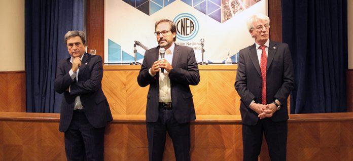 Alberto Lamagna, el subsecretario Julián Gadaño y Osvaldo Calzetta Larrieu.